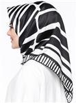 روسری زنانه مشکی – سفید ابریشم رویال   Misirli 309323