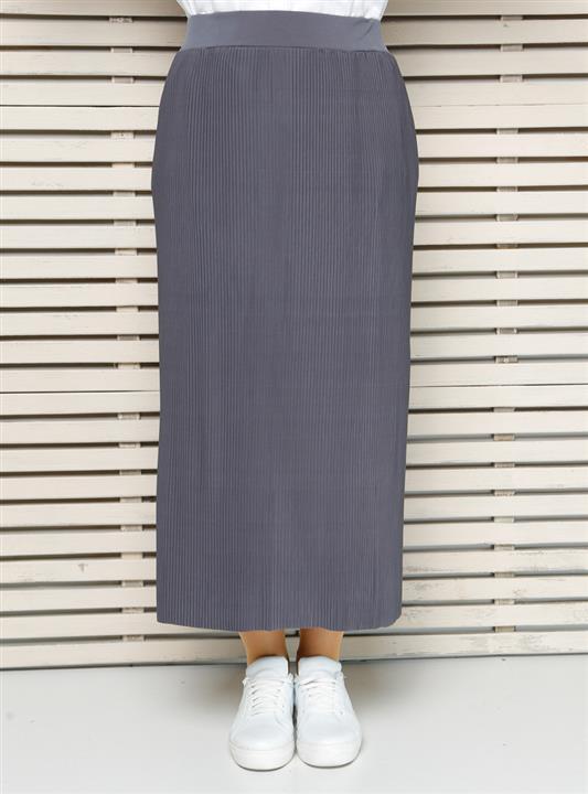 دامن سایز بزرگ زنانه خاکستری آنتراسیت پلیسه دار   Alia 239755