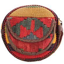 کیف دوشی گرد گالری ماد طرح ترکیب گلیم و جاجیم طرح 4 کد MAD 55 003