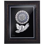 تابلو نقره گالری گنجینه طرح شمسه رنگی و پرنده آیه نورالسماوات مدل 00-24