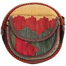 کیف دوشی گرد گالری ماد طرح ترکیب گلیم و جاجیم طرح 12 کد MAD 55 003