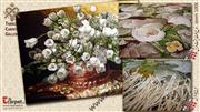 تابلو فرش گل لاله گلدان مسی