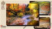 تابلو فرش منظره پاییز رودخانه