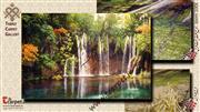 تابلو فرش منظره آبشار جنگلی