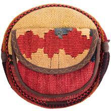 کیف دوشی گرد گالری ماد طرح ترکیب گلیم و جاجیم طرح 7 کد MAD 55 003