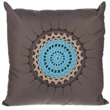 کوسن گالری دکوداریس مدل ترکیب پارچه و بافتنی طرح شمسه آبی