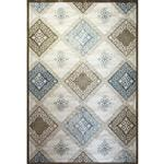 فرش ماشینی زمرد مشهد طرح 1727 زمینه کرم آبی