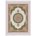 فرش ماشینی شاهکار  آریایی گل برجسته طرح درنا زمینه کرم
