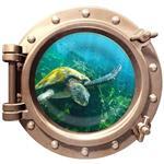 استیکر سه بعدی ویداوین طرح زیردریایی لاکپشت