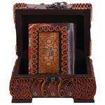 جعبه قرآنی پایاچرم طرح چرم و ترمه مدل 00-04 سایز کوچک