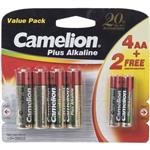 Camelion Plus Alkaline AA and AAA Battery - Pack of 6