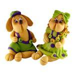 مجسمه خمیری ثمین مدل Girl And Boy Lovely Dog بسته 2 عددی