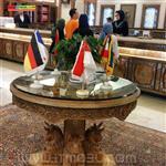 میز منبت و معرق چوب و خاتم کاری شده  قطر 120 سانت