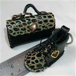 ست دسته کلید کیف و کفش مینیاتوری چرم طبیعی دست