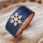 دستبند چرم طبیعی با پلاک استیل رنگ ثابت