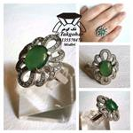 انگشتر عقیق سبز زمردی