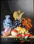 تابلو نقاشی طبیعت بی جان - ابعاد با قاب 40 در 50 سانتیمتر، رنگ و روغن روی بوم.