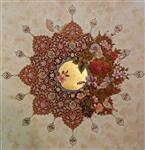 تابلوی نقاشی تذهیب و گل و مرغ