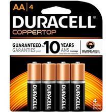 Duracell Coppertop Duralock Alkaline AA Battery Pack Of 4