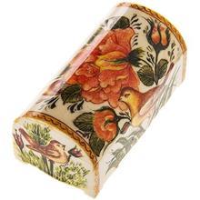 جعبه استخواني اثر خير آبادي طرح گل و مرغ