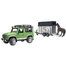 ماشين بازي برودر مدل Land Rover Defender And Horse Trailer