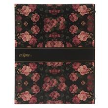 Clips Black Background Rose Flower Design Ring Binder Notebook - 100 Sheets