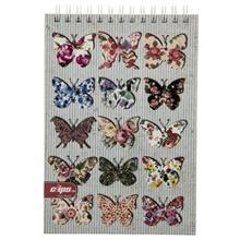 دفتر يادداشت کليپس طرح پروانه - 100 برگ