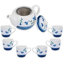 سرویس چای خوری 9 پارچه متوسط طرح گل سان مدل S001-A