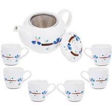 سرویس چای خوری 9 پارچه متوسط طرح گل سان مدل S001-B