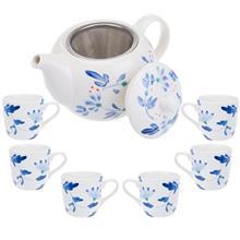 سرویس چای خوری 9 پارچه متوسط طرح گل سان مدل S001-D