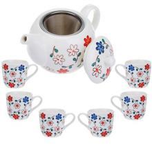 سرویس چای خوری 9 پارچه متوسط طرح گل سان مدل S001-E