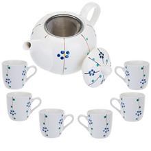 سرویس چای خوری 9 پارچه متوسط طرح گل سان مدل S001-F