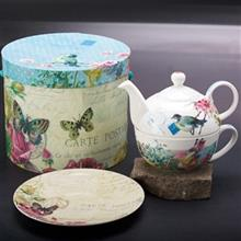 سرویس 3 پارچه چای خوری پی پی دی مدل باغ گل و پروانه