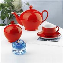 سرویس چینی 17 پارچه چای خوری چینی زرین ایران سری ایتالیا اف مدل گیلاس درجه یک