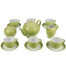 سرویس چینی 17 پارچه چای خوری چینی زرین ایران سری ایتالیا اف مدل سبز پسته ای درجه یک