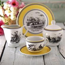 سرویس چینی 17 پارچه چای خوری چینی زرین ایران سری ایتالیا اف مدل ویلیج درجه یک