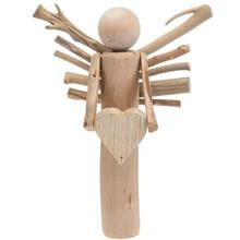 Hand Made Wooden Angel with Heart 12G731