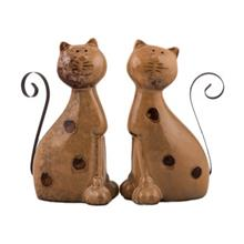 Double Ceramic Cat Statue