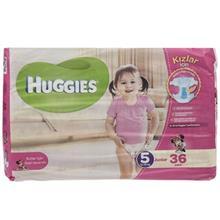 پوشک دخترانه هاگیز مدل Junior سایز 5 بسته 36 عددی