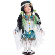 Porcelain Indians Green Size 4 Decorative Doll
