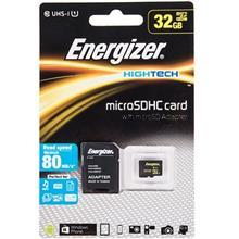کارت حافظه microSDHC انرجايزر مدل Hightech کلاس 10 استاندارد UHS-I U1 سرعت 80MBps همراه با آداپتور SD ظرفيت 32 گيگابايت