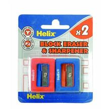 تراش با مداد پاک کن 2 تايي هليکس مدل Block کد E02