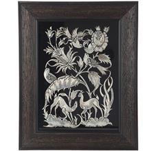 تابلو قلمزني اثر خرم نژاد طرح گل و مرغ سايز 40 × 50 سانتي متر