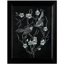 تابلو خراش روي فلز طرح پرندگان روي شاخه و گل