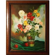 تابلو نقاشي طرح گلدان و سيب