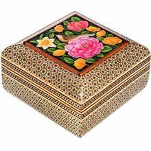 جعبه خاتم اثر خادم ملت طرح گل و مرغ