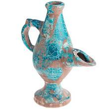 پیه سوز سفالی کارگاه ایران باستان با پوشش گلی و اثر سوختگی