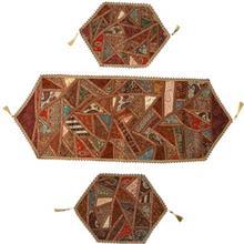 رومیزی سه تکه کرسی دوزی ترمه خاتون کد 130018