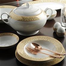 سرویس چینی 28 پارچه غذا خوری چینی زرین ایران سری ایتالیا اف مدل مهر درجه عالی