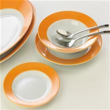 سرويس چيني 28 پارچه غذاخوري چيني زرين ايران سري ايتاليا اف مدل نارنج درجه يک